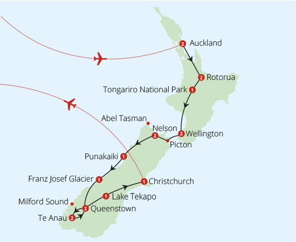 New Zealand Route Map.New Zealand 20 Day Fly Drive Fly Drive Tours Mercury Holidays
