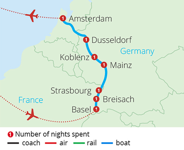 Cruising the Rhine Basel to Amsterdam Route Map