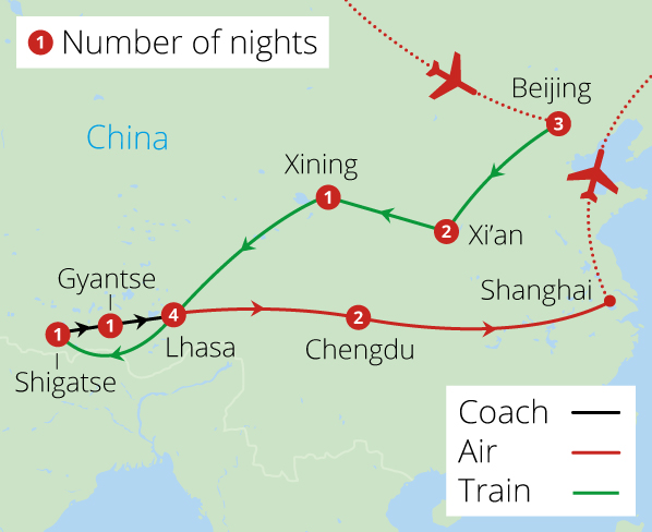 China and Tibet Rail Adventure Route Map