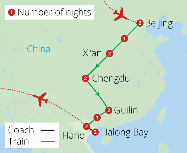 China to Vietnam by Rail Route Map