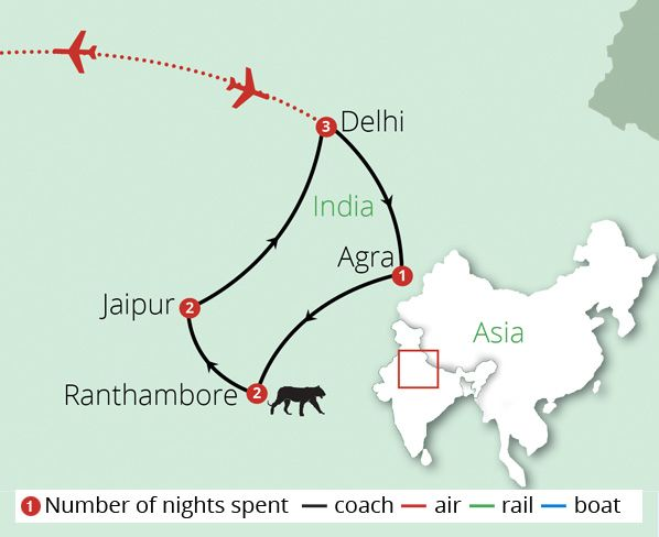 Luxury North India Route Map