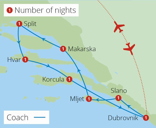 Deluxe Croatian Island Cruise Dubrovnik Route Map