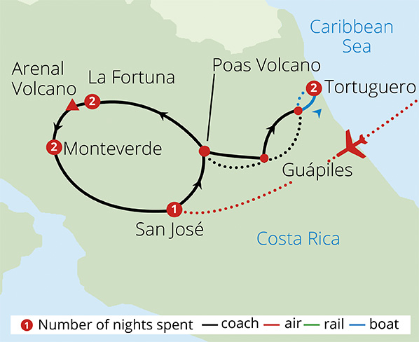 Best of Costa Rica Route Map