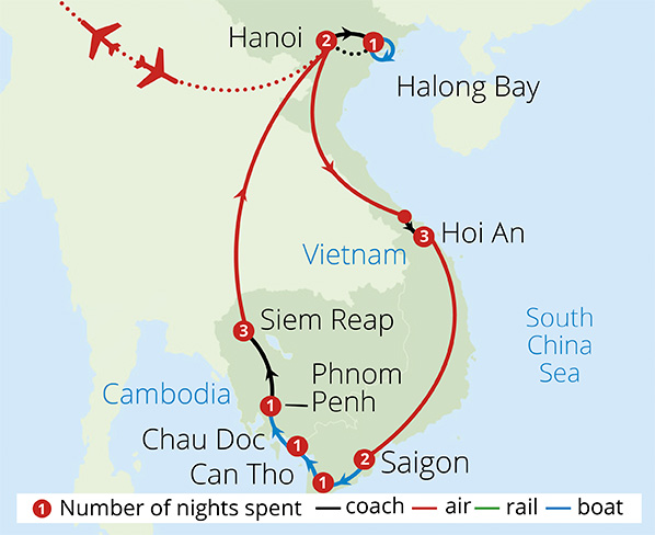 Vietnam and Cambodia Explorer Route Map