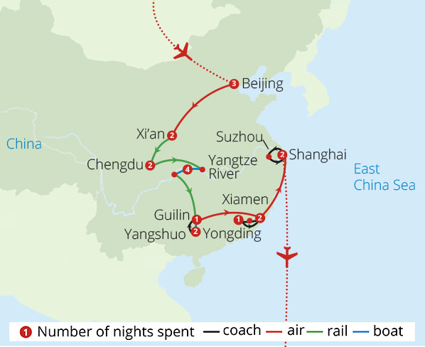 Magnificent China Route Map
