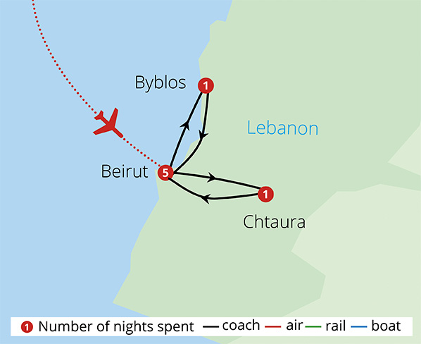 Treasures of Lebanon Route Map