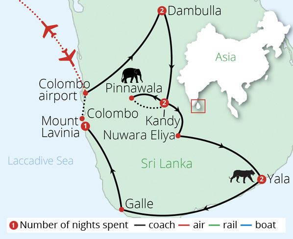 Jewels of Sri Lanka for Solo Travellers Route Map