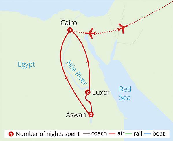 Cairo Pyramids and The Nile  Route Map