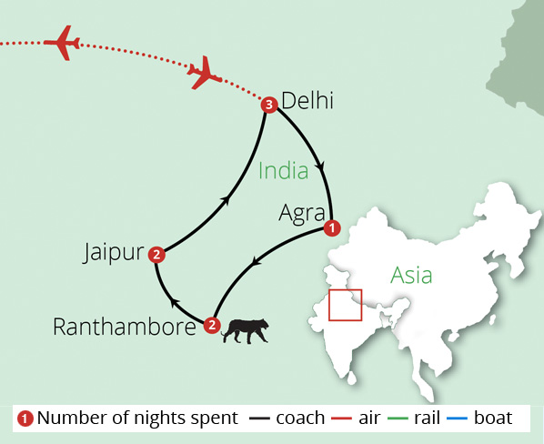 Essence of North India Route Map