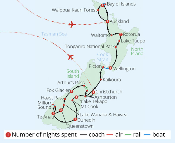 New Zealand Route Map.Discover New Zealand New Zealand Tours Mercury Holidays