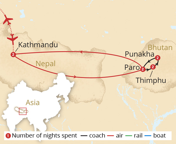 Kingdom of Bhutan Route Map