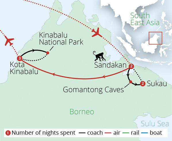 Borneo's Jungles and Orangutans Route Map