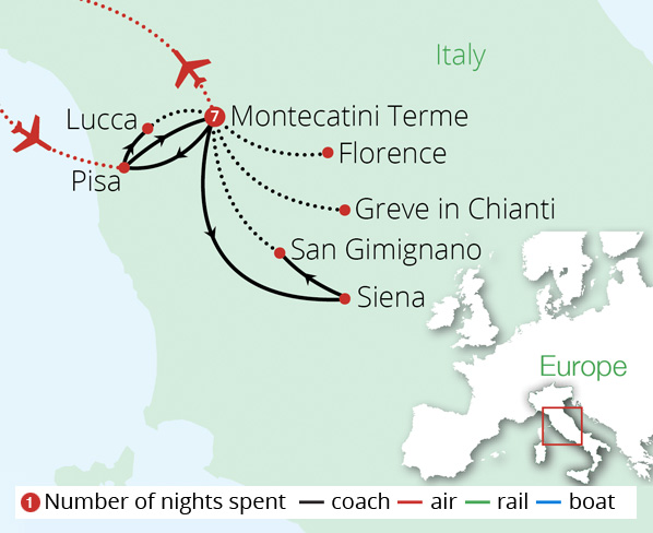 Tuscany's Treasures Route Map