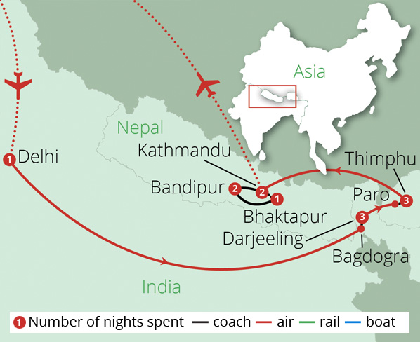 India Nepal and Bhutan Route Map