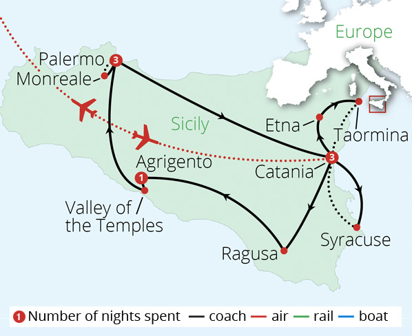 Jewels of Sicily Route Map