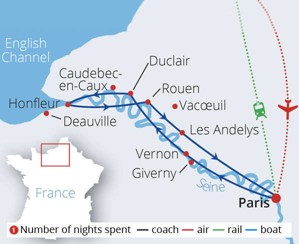 Paris and The Romantic Seine Valley Route Map