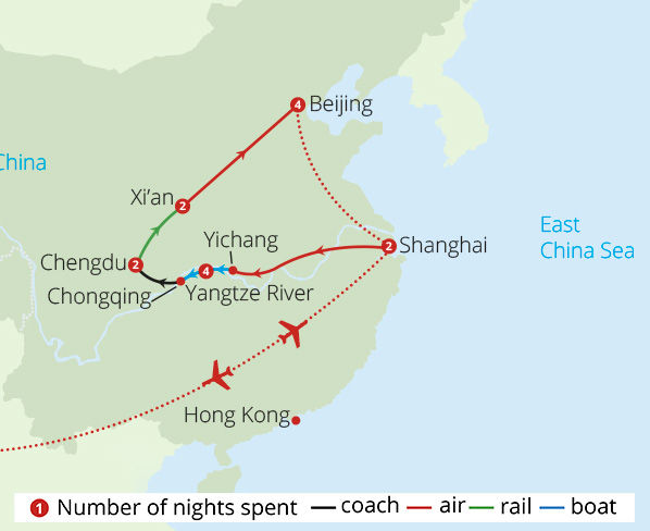 Wonders of China Route Map
