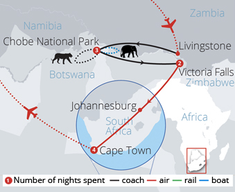 Botswana Zambezi and Cape Town Route Map