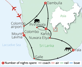 Jewels of Sri Lanka Route Map