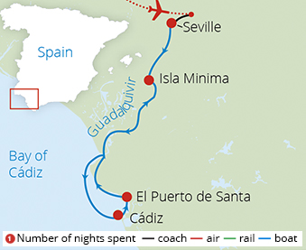 Treasures of Andalucia and Seville Route Map