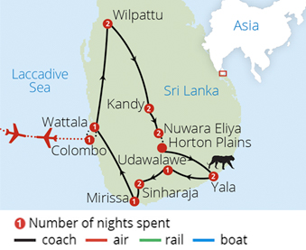 Sri Lanka's Parks and Wildlife Route Map