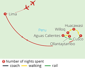 Lima Cusco and the Inca Trail Route Map