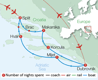 Croatian Island Cruise Route Map