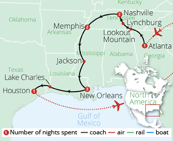 America's Deep South Route Map