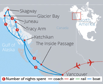 Alaskan Coastal Cruise Route Map